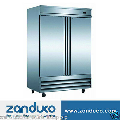 "Zanduco 54"" Stainless Steel Double Door Reach-In Refrigerator 41.3 Cu. Ft."