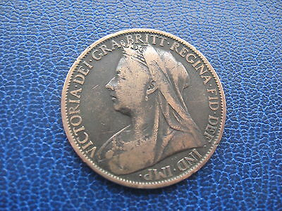 1899 BRITISH ONE PENNY 1d COIN QUEEN VICTORIA