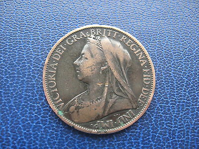 1900 BRITISH ONE PENNY 1d COIN QUEEN VICTORIA