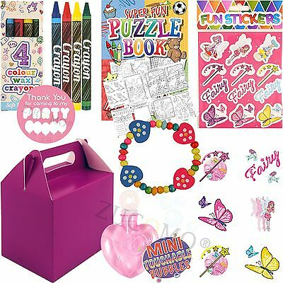 Girls Purple Childrens Wedding Activity Packs Favours Gift Party Bag Kids Boxes