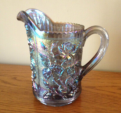 "Vtg Imperial Glass Lustre Rose Carnival Smoke Scalloped 8"" Pitcher 1950s Signed"