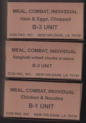 Set Of 3 Empty Usa Vietnam War Era C Ration Meal Boxes (Repro)