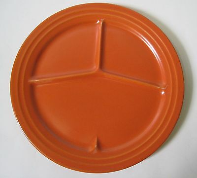"""VINTAGE Pacific Hostess CALIFORNIA POTTERY GRILL PLATE 12"""" ORANGE"""