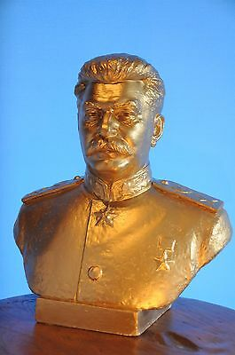EXTREMELY BIG RARE Soviet Statue STALIN 1944y H=25,5in Russian USSR Bust STAMPED