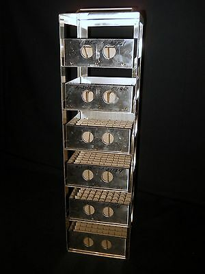 """Six Shelf Cryogenic S.S. Chest Freezer Rack w/ 2"""" High Boxes and 81 Cell Divider"""