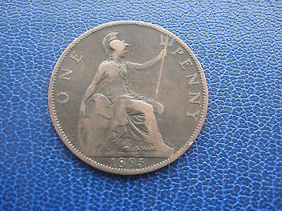 1895 BRITISH ONE PENNY 1d COIN QUEEN VICTORIA