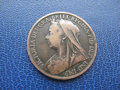 1901 BRITISH ONE PENNY 1d COIN LAST YEAR OF QUEEN VICTORIA