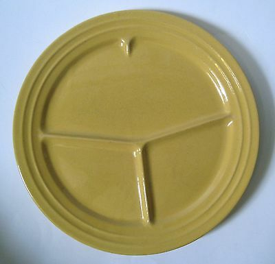 """Vintage Pacific Hostess CALIFORNIA POTTERY GRILL PLATE 12"""" YELLOW 1940's"""