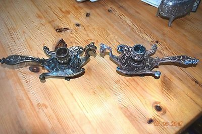 PAIR OF AESTHETIC  FRENCH  GRIFFIN CANDLE HOLDERS   c1880  STUNNING