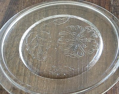 """Antique Vintage Round Flat Clear Glass Cover Lid with Hibiscus Flower 5 3/4"""""""