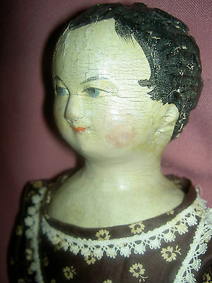 """Very early 17"""" antique German carved wood shoulder head, arms & legs child doll"""