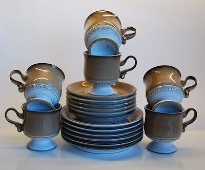 SIX (6) DENBY FOOTED COFFEE TRIOS. (6 cups + 6 saucers + 6 plates)  V.G.C.