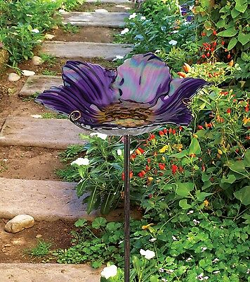 Regal Art Gift Birdbath Feeder with Stake Purple Garden Ornament free Shipping