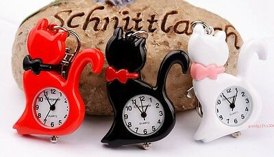 New 10pcs Cat easy to read time Girl Lady Key Ring Chian watches Xmas gifts GX2