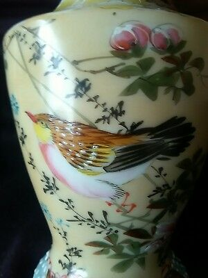 A Small Vintage /antique Signed Oriental Vase. Part Hand Painted. Vg Cond.