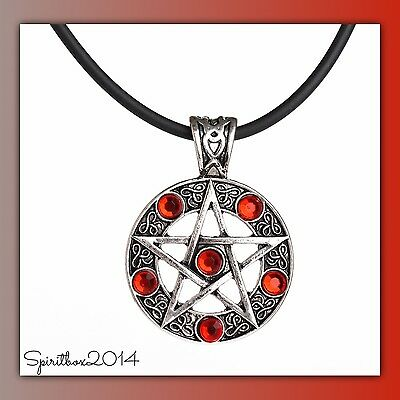 Red Crystal Pagan Supernatural Pendant Necklace Wiccan Gothic Jewellery GIft