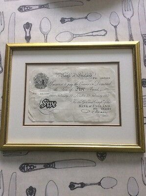 Framed 1950 Bank of England Five Pounds £5 White Fiver Beale P81