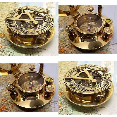 Sundial Compass Nautical Maritime Vintage Pocket Watch Brass Decor NauticalMart