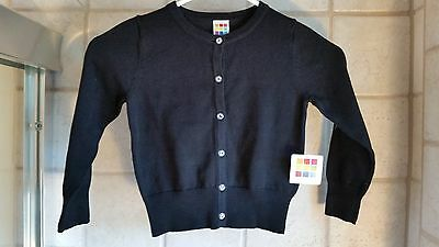 NWT! HEALTHTEX Toddler GIRLS 4T BLACK button up Cardigan Sweater - 100% Cotton