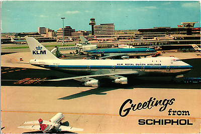 Used Postcard--AMSTERDAM SCHIPHOL Netherlands  AIRPORT, KLM DC-10 AND 747