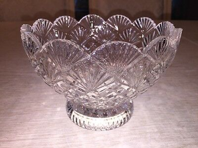 scalloped edge crystal candy dish diamond point fan