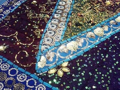 "60"" India Art Décor Beaded Sequin Vintage Sari Moti Kundan Wall Tapestry Hanging"