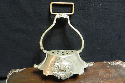 Antique brass & silver color horse STIRRUP 1889 US of Brazil Old Republic Patina