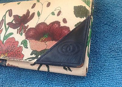 vintage gucci butterfly floral wallet bifold leather rare credit card navy