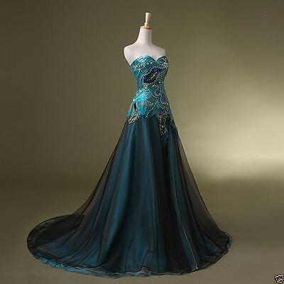 New Stock Peacock Prom Dress Bridal Wedding Gown Formal Evening Party G63466