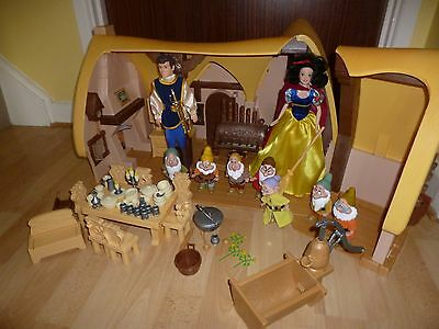 Disney Snow White Seven Dwarfs Cottage Complete With Dolls + Rare Prince Boxed