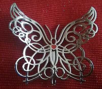 Clip on ORNAMENT? Silver tone Metal  BUTTERFLY Clip
