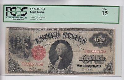 1917 $1 One Dollar Bill United States Legal Tender Large Note - PCGS Fine 15