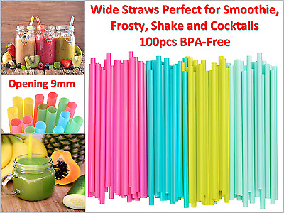 BPA-Free Wide Straws Perfect for Smoothie, Frosty, Shakes and Cocktails -100pcs