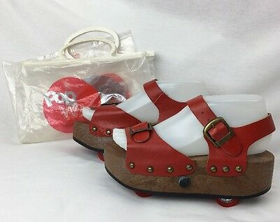 Sz 6.5 Vintage 70's OMNIA'C POP WHEELS Roller Skates Platform Shoes Leather