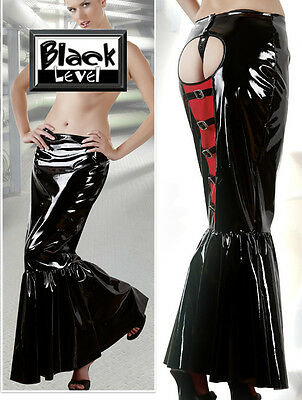 Langer Lack-Rock schwarz rot Black Level lang po offen sexy long vinyl skirt