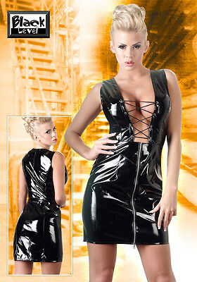 Lack-Minikleid schwarz Mini Kleid Vinyl Dress Black Level sexy S M