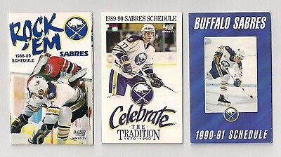 Buffalo Sabres NHL Schedules 1988-89 1989-90 1990-91 Lot of (3) Marine Midland