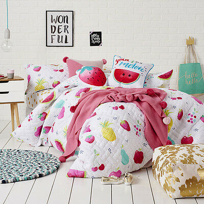 Adairs Kids Fruit Crush Quilted Cot Quilt Cover Set - RRP $129.95