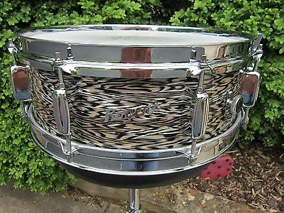 Rogers Pre- Power Tone 5 X 14 Holiday Wood Snare Drum Black Onyx Vintage 1962