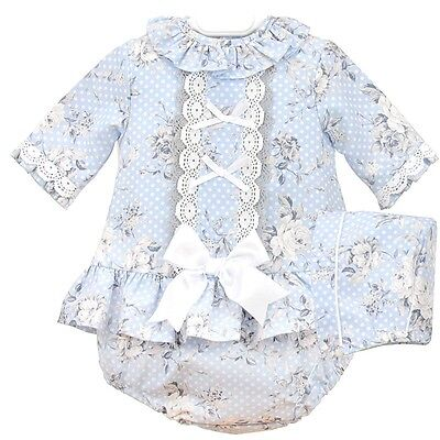 *New Winter*Baby Girls Romany Spanish Blue Floral 3 Piece Dress Bonnet Set