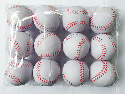 12PCS WHITE Sport Training Practice Baseball Elastic PU Foam Base balls Softball
