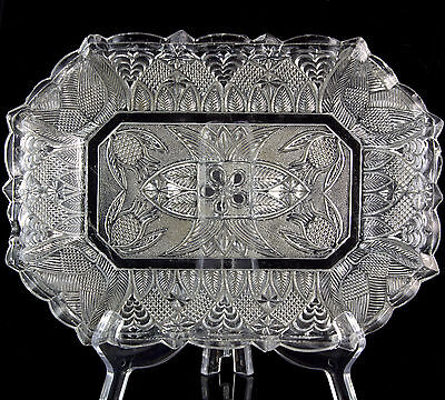 1830 SANDWICH GLASS EAPG Pressed Pineapple Gothic Arch LACY DISH Platter AAFA