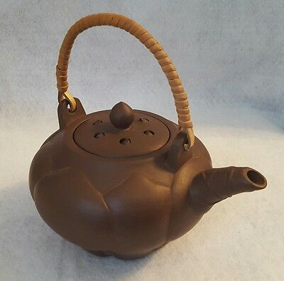 Vintage Chinese Yixing Lotus Blossom Shaped Teapot w/ Wicker Handle - Marked