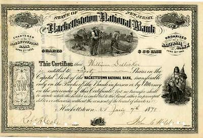 1870s Hackettstown National Bank (New Jersey) Stock Certificate