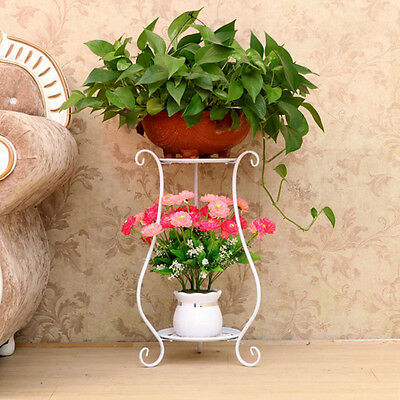 Elegant white Black Metal Plant Stand / Flower Pots Shelf Unit