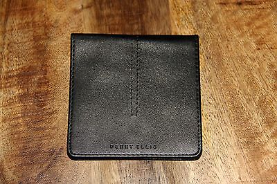 NWT Perry Ellis Solid Black Leather Case w/ Steel Collar Inserts