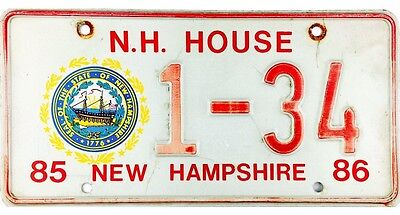 1985-1986 New Hampshire HOUSE OF REPRESENTATIVES License Plate #1-34 No Reserve