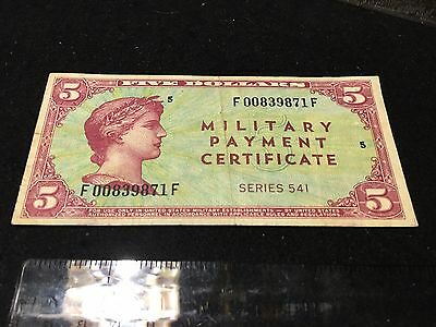 Series 541 $5 Five Dollars Mpc Military Payment Certificate Rare