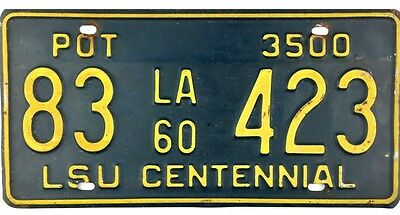 1960 Louisiana PRIVATE OWNED TRUCK POT License Plate #83-423 No Reserve