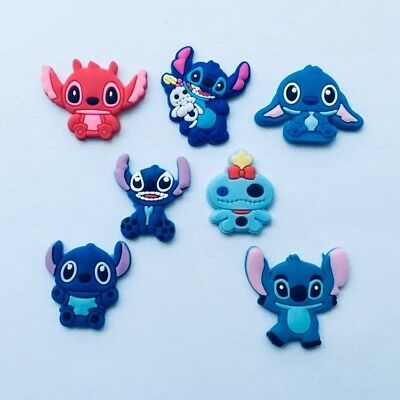 Kids Party Gifts Cartoon Lilo Stitch Shoe Charms Fit Croc Shoes & Bracelet 7pcs